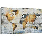 Kas Home Abstract Art - Large Vintage World Map - Gold Foil Canvas Prints Large Framed Wall Art Wall Paintings for Living Roo
