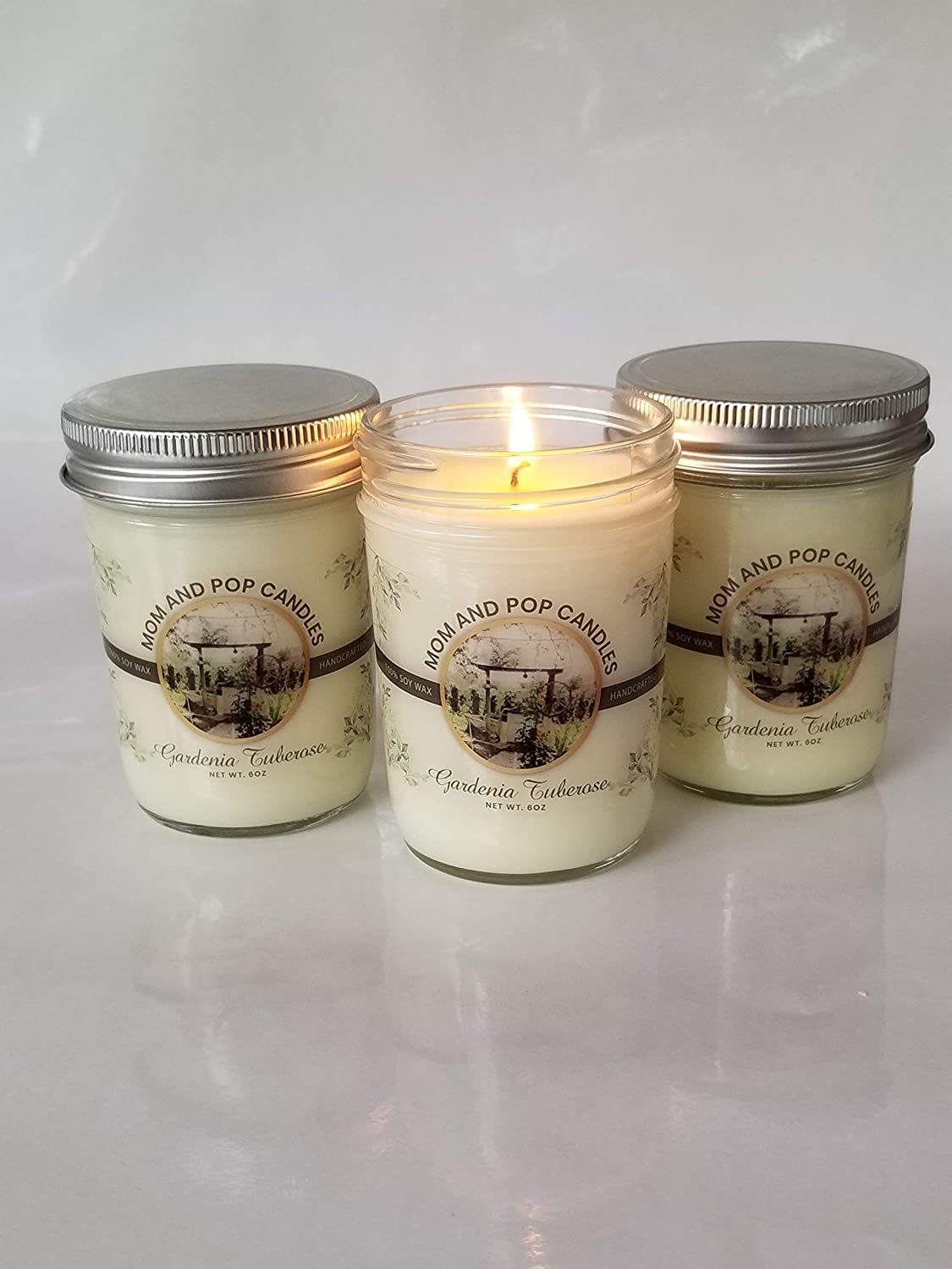 6 oz Mom and Pop Candles- Fresh Cut Gardenia Tuberose Scent Hand Poured and 100/% Natural Toxin Free Soy Candle