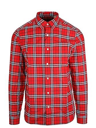 BURBERRY Homme 8003101 Rouge Coton Chemise  Amazon.fr  Vêtements et ... 477d1ab6651