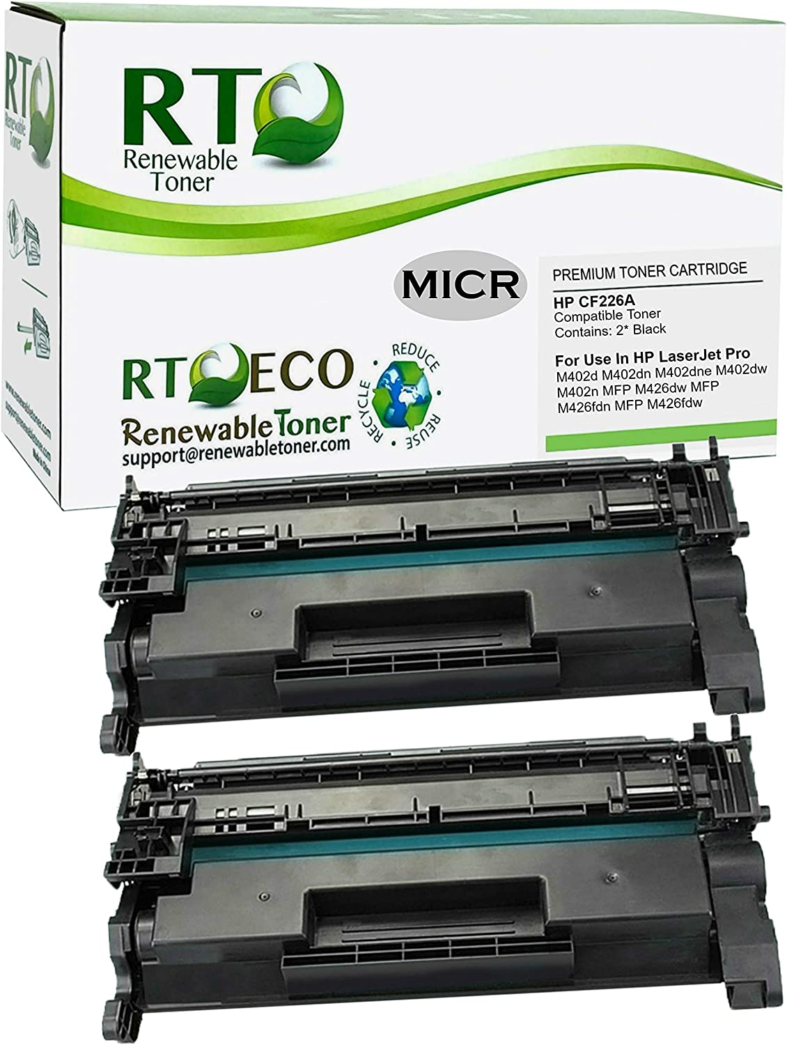 Renewable Toner Compatible MICR Toner Cartridge Replacement for HP CF226A 26A Laserjet Pro M402 M426 MFP (2-Pack)