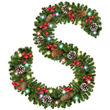 Christmas Garland With Lights 9 Ft 50 Led Xmas Garland Battery Operated With 18 Pine Cone 75 Berries Christmas Decorations For Door Fireplace Stairs