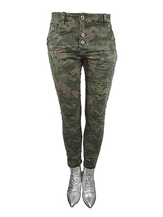 1b1b1e741d6d86 Zip Denim Stretch Baggy-Jeans Boyfriend schräge Naht 4 Knöpfe offene  Knopfleiste Camouflage Camouflage XL