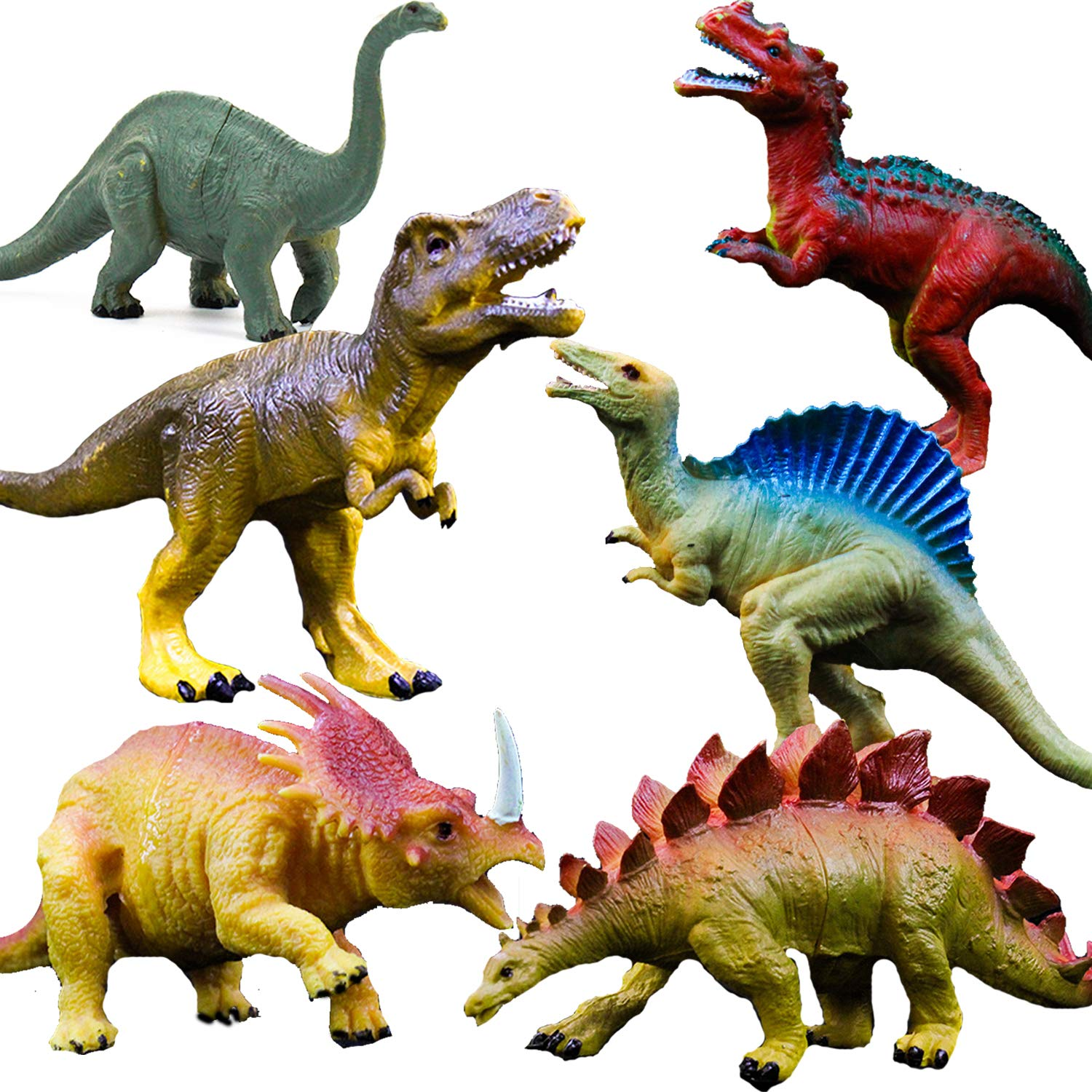 "Realistic Dinosaur Figure Toys, 6 Pack 7"" Large Size Plastic Dinosaur Set for Kids and Toddler Education, Including T-rex, Stegosaurus, Monoclonius, etc"