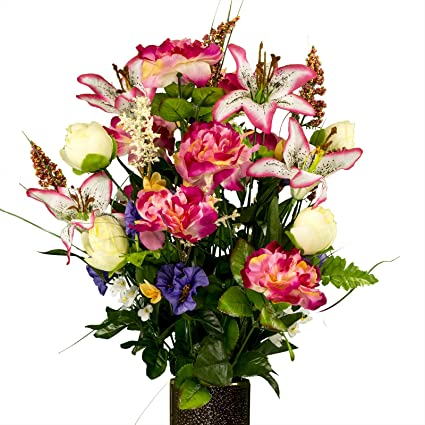 Amazon pink cream and lavender spring mix artificial bouquet pink cream and lavender spring mix artificial bouquet featuring the stay in the mightylinksfo