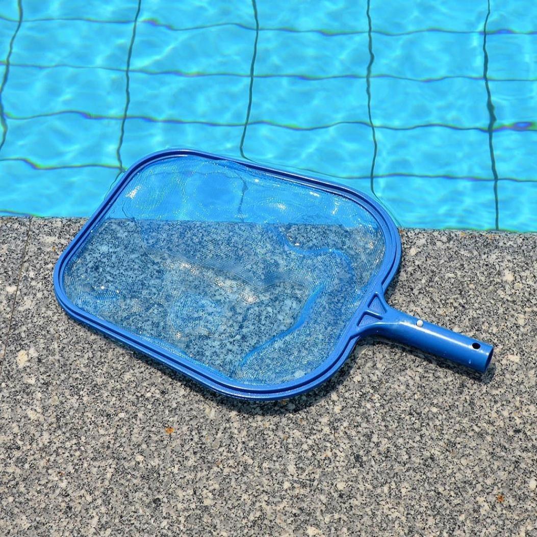 Carrolliwfkk Blue Professional Plastic Leaf Rake Mesh Net Skimmer Clean Tool for Swimming Pool Pond Hot Tub Fountain Fish Tank