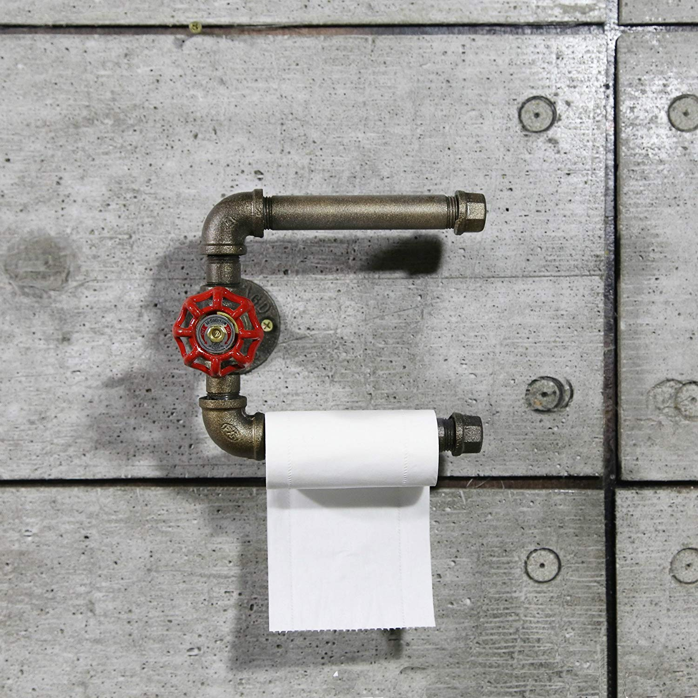 Tissue Dispenser Industrial Retro Metal Towel Rack Wall Mounted Iron Toilet Paper Holder Roller Shelf for Restaurant, Restroom, Bathroom