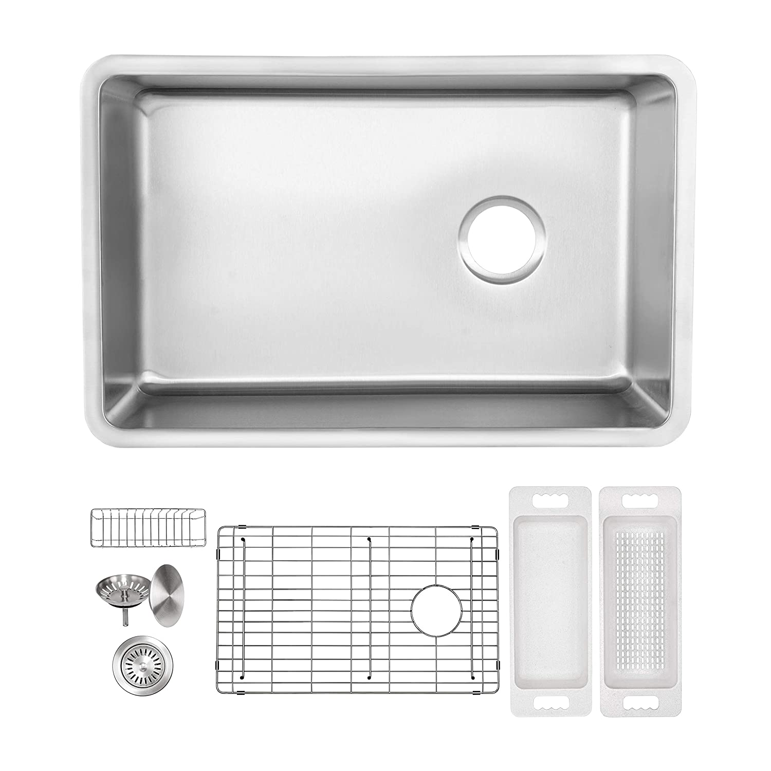 ZUHNE Offset Drain 24 x 19 Inch Reversible Single Bowl Under Mount 16 Gauge Stainless Steel Kitchen Sink W. Grate Protector, Caddy, Colander Set, Drain Strainer and Mounting Clips, Fits 27 Cabinet