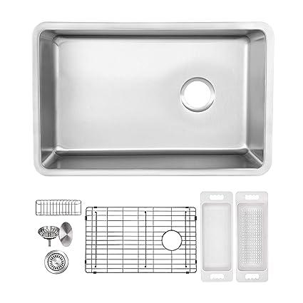 Awesome Zuhne 16G Offset Drain Stainless Steel Kitchen Sink Fits 27 Cabinet 24 X 19 Inch Single Under Mount Download Free Architecture Designs Osuribritishbridgeorg