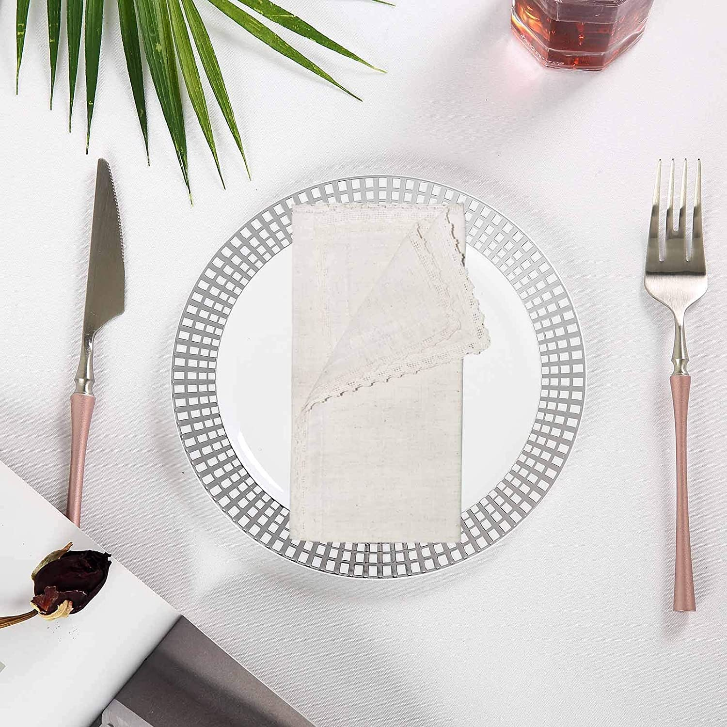 COTTON CRAFT - 12 Pack Oversized Flax with Lace Dinner Napkins - 20x20 Natural, Tailored with Mitered Corners and a Generous Hem, Napkins are 38% Larger Than Standard Size Napkins: Home & Kitchen