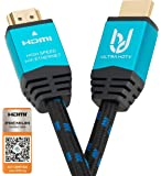 4K HDMI 2.0b Cable by Ultra HDTV 3m I Premium High Speed Lead I 4K@60Hz (no stuttering!) I Nylon Braided, Metal Adapters, Ethernet, 3D, HDR, ARC