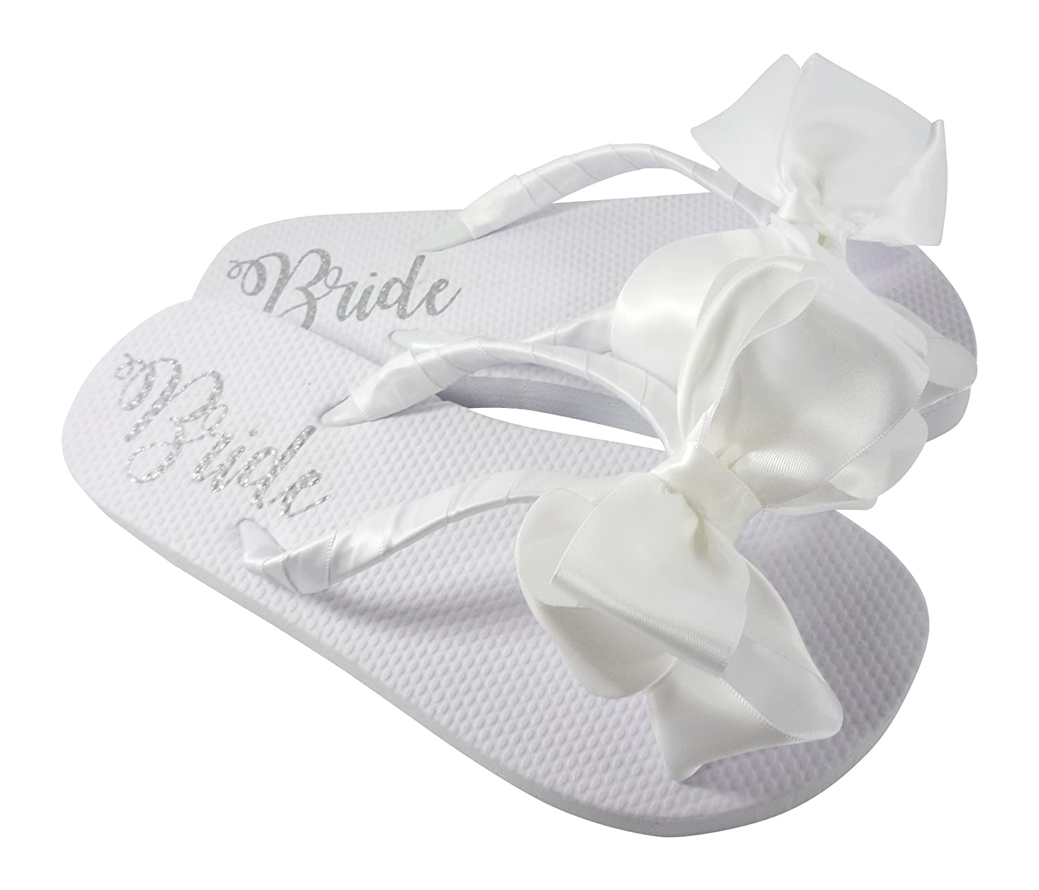 Wedding Bow Flip Flops with Shimmer Bride on the Flat Sole