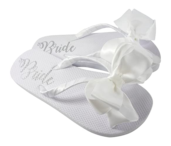 4ef072e73cd5e5 Amazon.com: Wedding Bow Flip Flops with Shimmer Bride on the Flat Sole:  Handmade