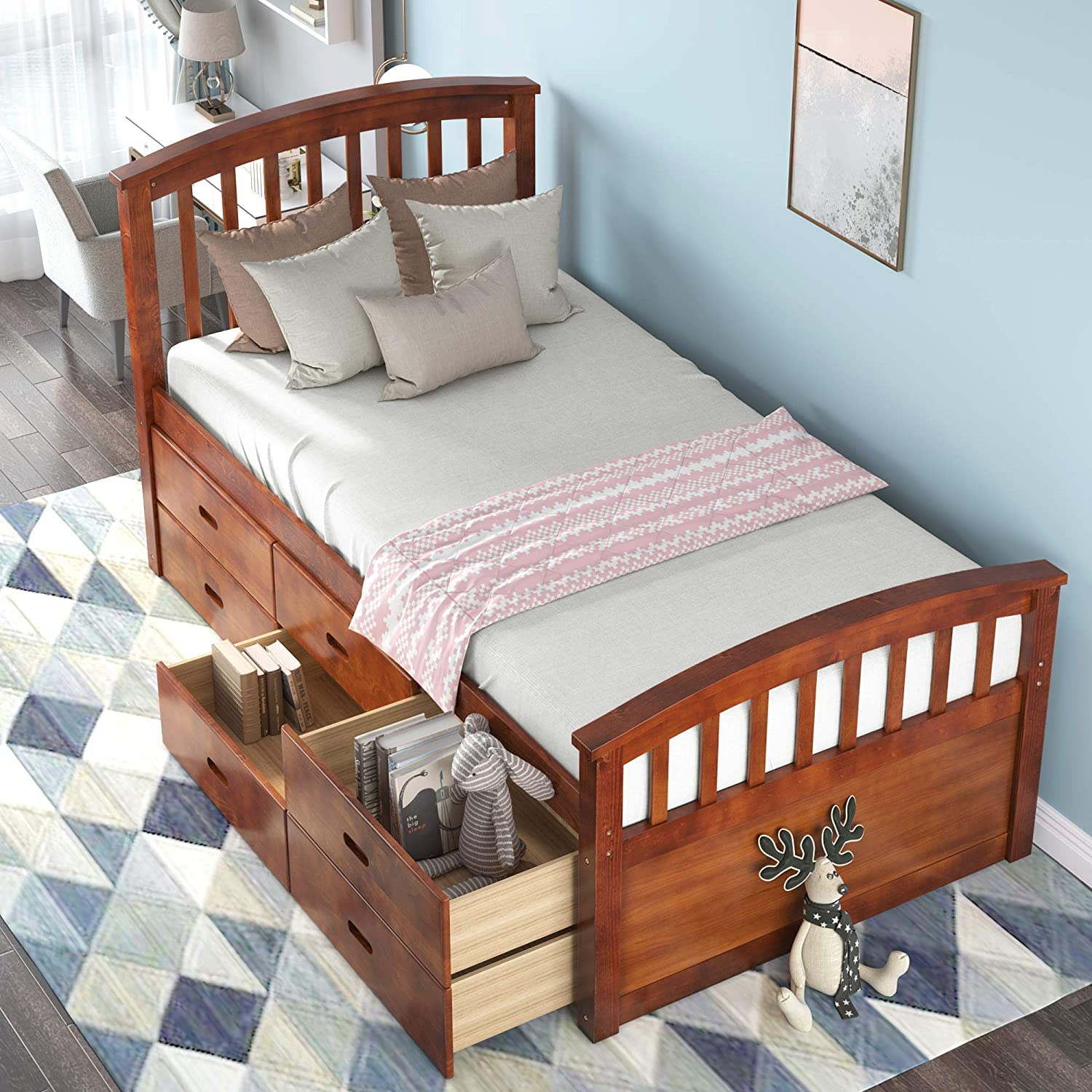 Amazon Com Platform Storage Bed Solid Wood Bed With 6 Drawers Twin Size Kitchen Dining