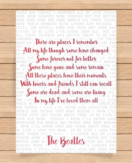 The Beatles Song Lyrics Quotes Presents Gifts For Friends