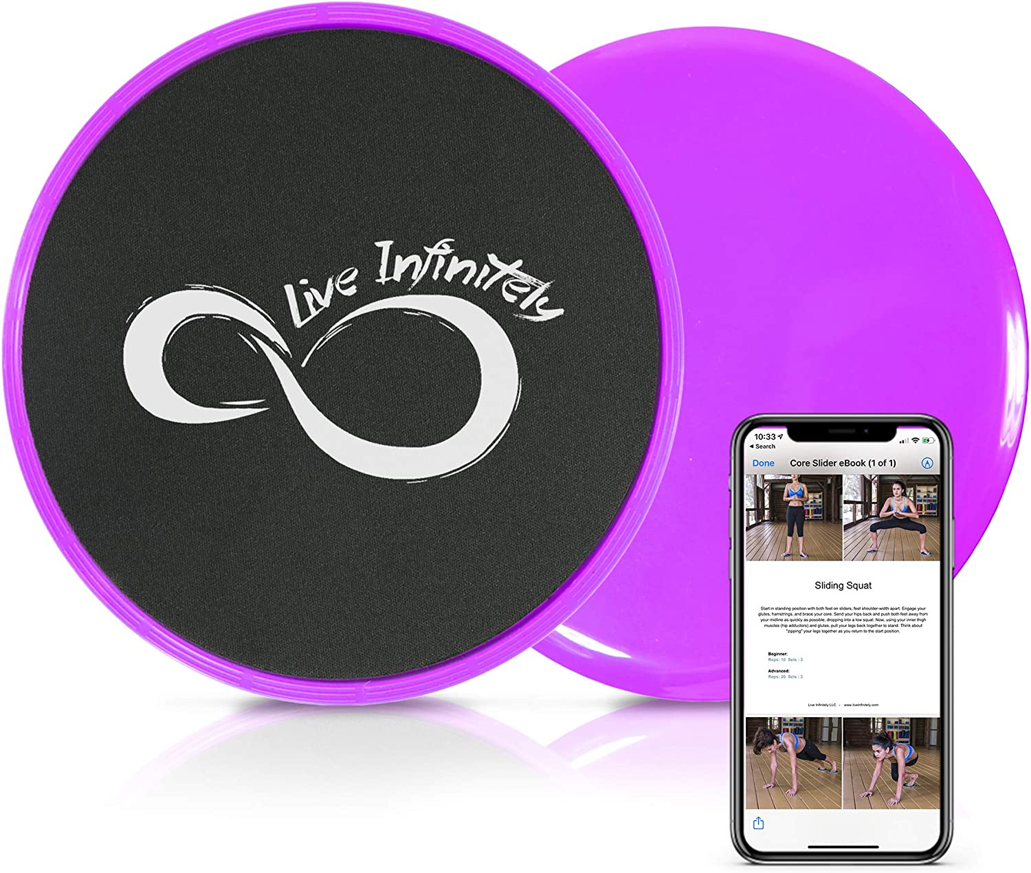 Live Infinitely Core Sliders – Dual Sided Fitness Sliders for Hardwood Or Carpeted Surfaces – Ideal for Ab & Core Workouts – Includes eBook of Exercises & Workouts