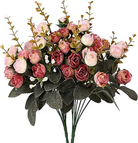 realizzato in seta matrimoni mazzo di rose artificiali costituito da 7 rami e 21 rose feste Bouquet decorativo La confezione contiene 2 mazzi Pink Coffee Amkun ideale per case