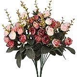 Houda artificiali fiori di seta rosa e foglia Matrimonio Decorazione Floreale Bouquet, confezione da 2 Pink Coffee