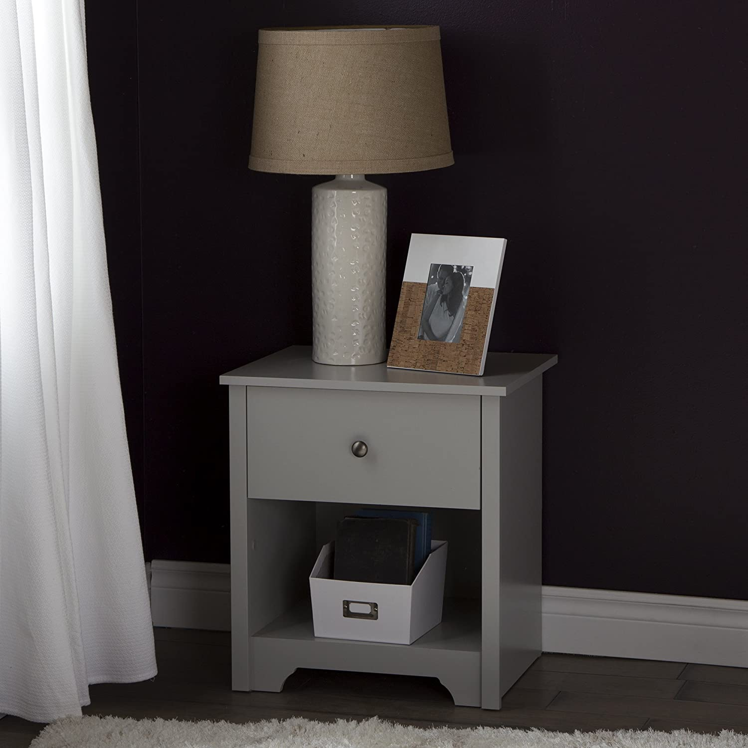 South Shore Furniture Vito 1-Drawer Night Stand, Soft Gray 9021062