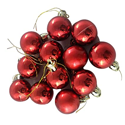 VMP Christmas Red Ball Ornaments Tree Decorations for Holiday Wedding Party Decoration, Christmas Decorations for House Pack of 12