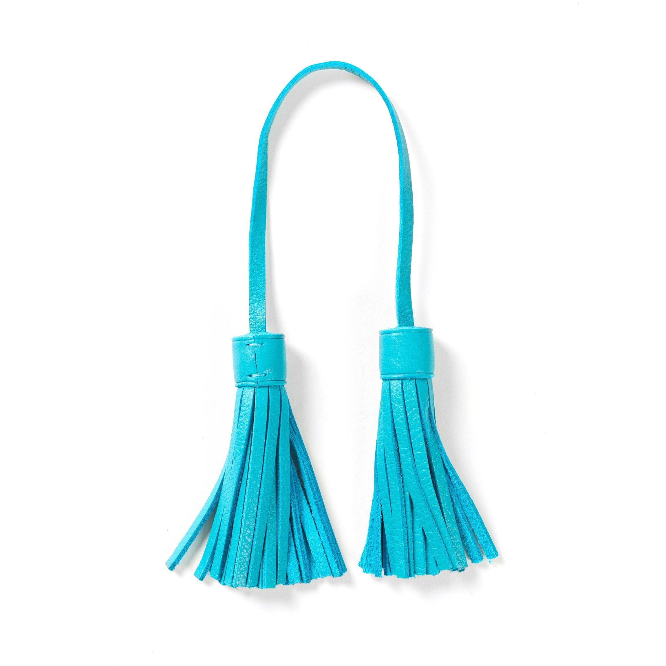 Tassel Bag Tag - Full Grain Leather - Teal (blue)