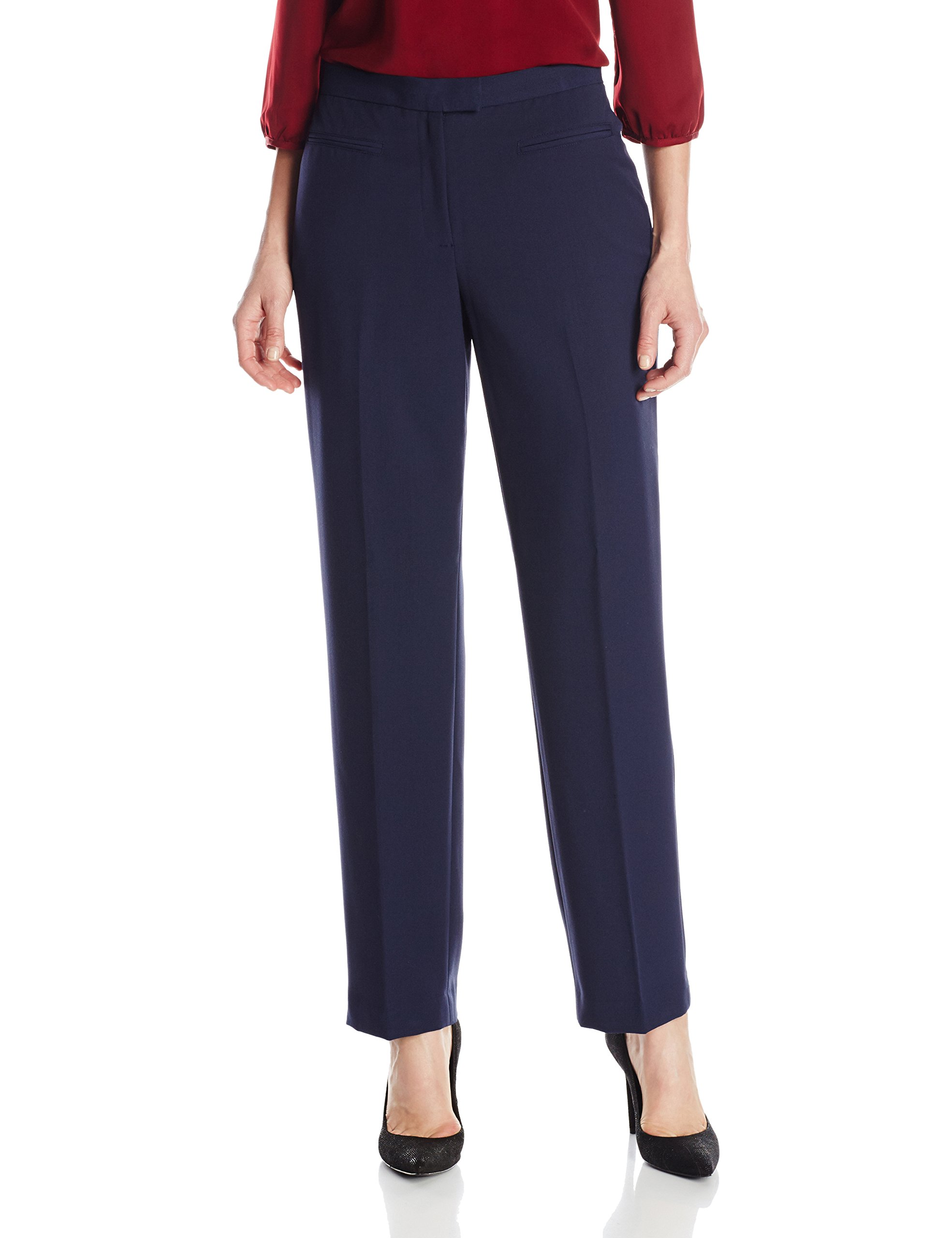 Ruby Rd. Women's Flat Front Easy Stretch Pant, Navy, 18