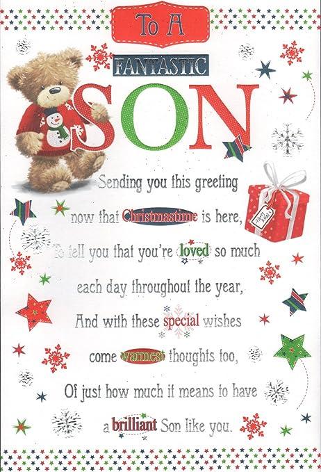 Auguri Di Natale Ad Un Figlio.Ad Un Fantastico Figlio Di Auguri Di Natale Amazon It