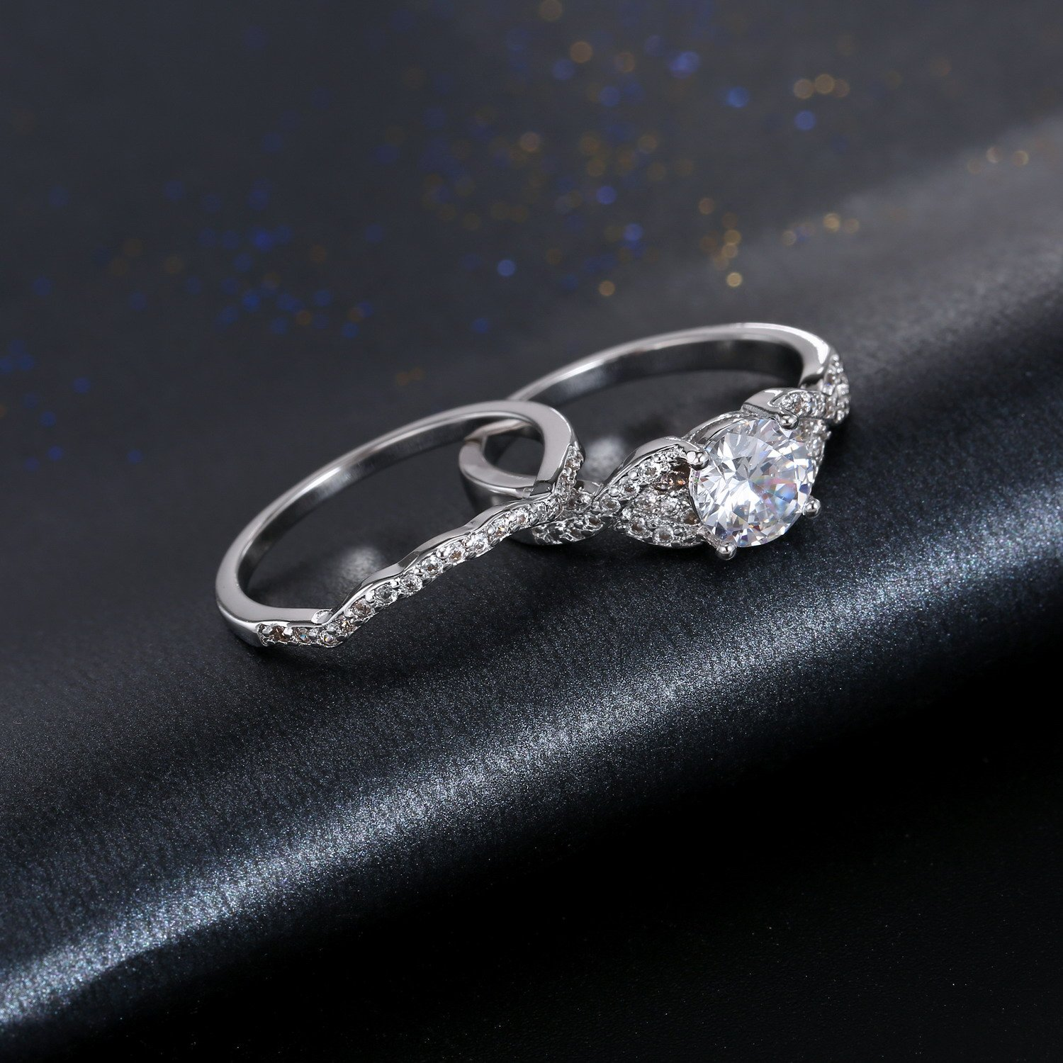 Diamond Cut Infinity Band Rings - Round Radiant Cubic Zirconia Women Wedding Band Ring Set Size 6-9 (11) by Hiyong (Image #8)