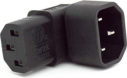 iONZ - Adaptador de corriente IEC C14 a C13 10 A, conector PDU de 90 grados, montaje en pared, para televisor/soporte de pared para televisores LCD: Amazon.es: Electrónica