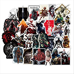 Assassins Creed Stickers for Laptop,Stickers Motorcycle Bicycle Skateboard Luggage Decal Graffiti Patches [No-Duplicate Sticker Pack] (Assassins Creed)