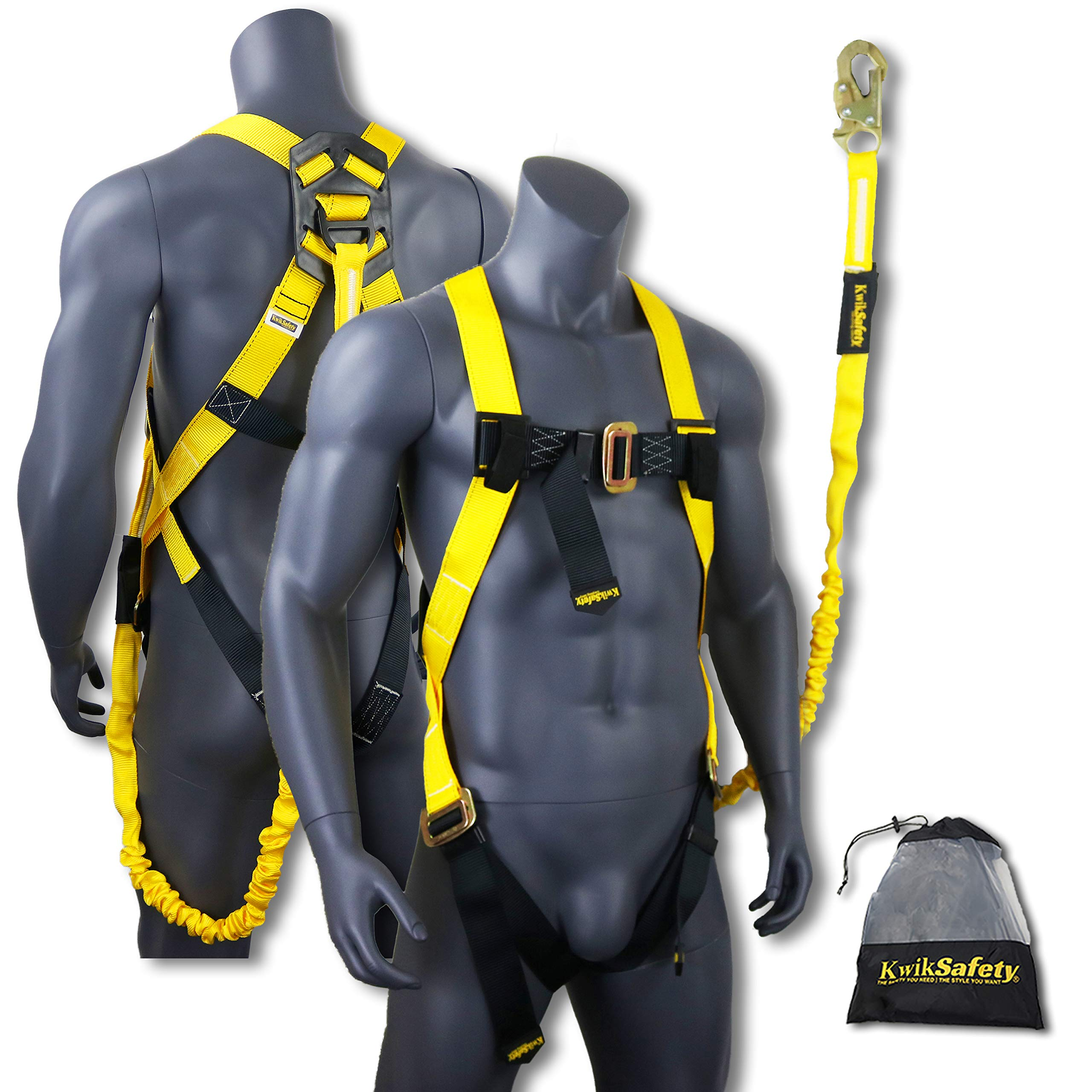KwikSafety SCORPION | Safety Harness w/attached 6ft. Tubular Lanyard on back | OSHA Approved ANSI Compliant Fall Protection | INTERNAL Shock Absorbing Lanyard | Construction Carpenter Scaffolding …