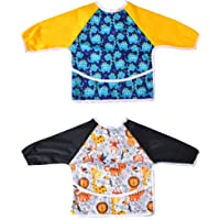 2 Pack Long Sleeved Bib Waterproof Bibs with pocket, 6 to 24 months Bibs for Toddler...