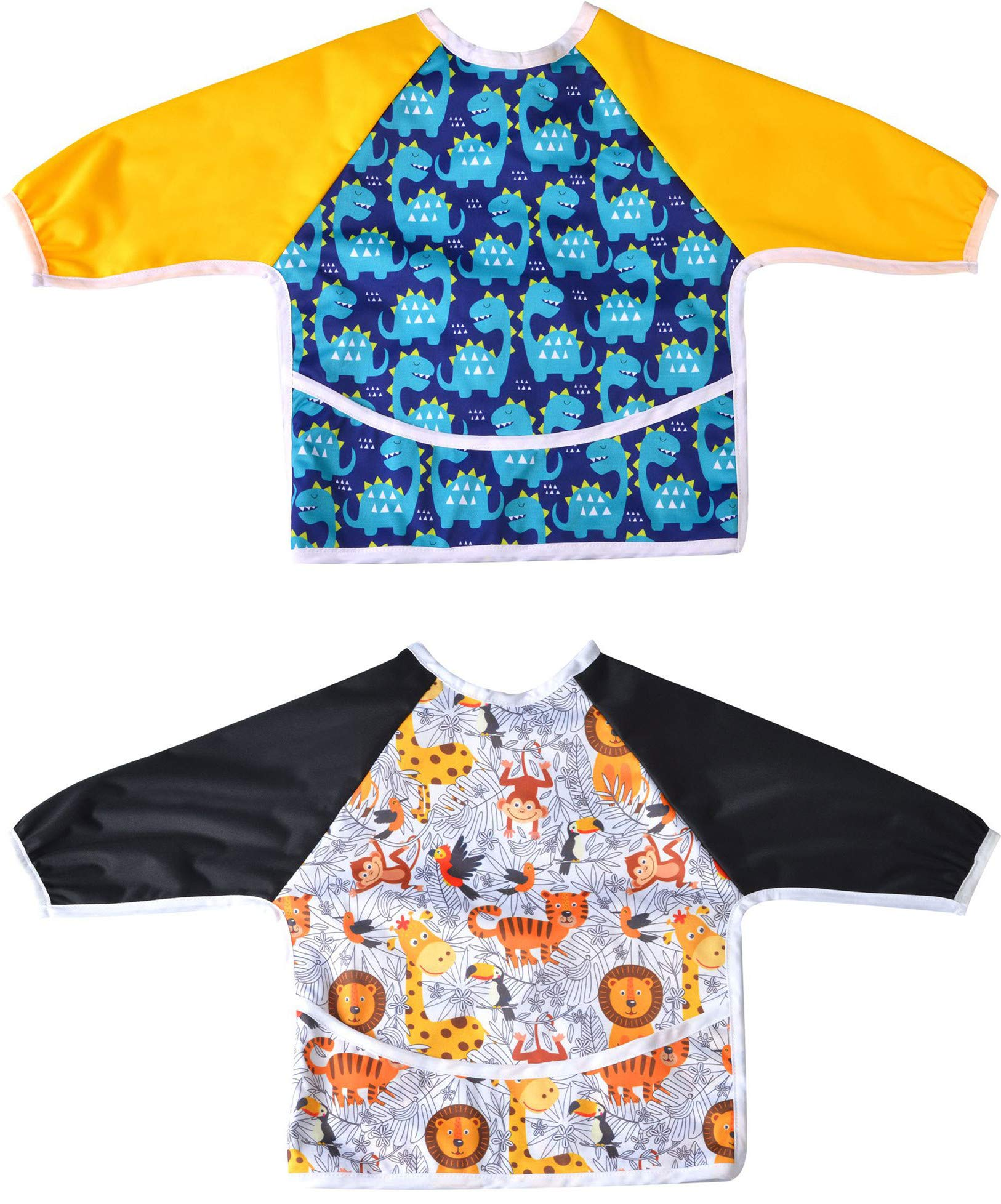 2 Pack Long Sleeved Bib Waterproof Bibs with pocket, 6 to 24 months baby girl and boy Bib (Dinosaur & Animal)