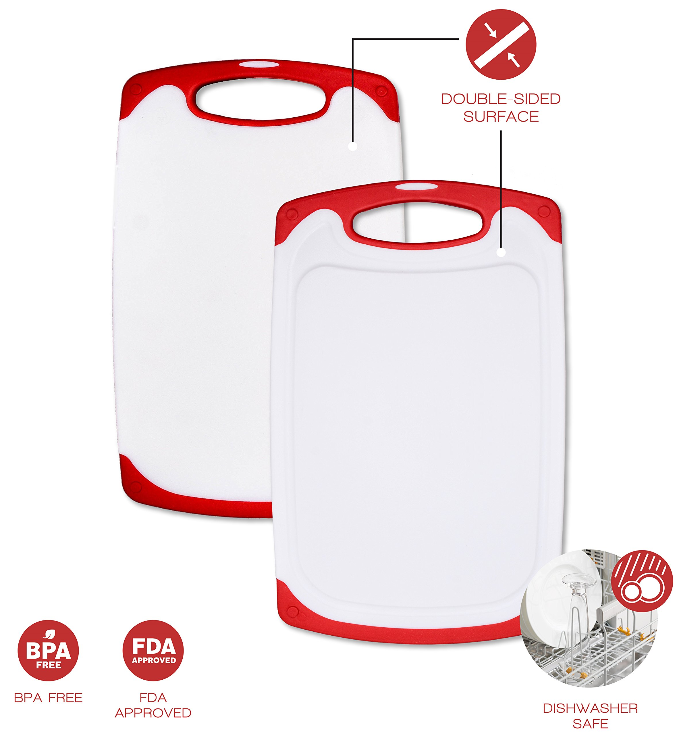 Raj Non-Slip Antibacterial Plastic Cutting Board, Deep Juice Groove, Dishwasher Safe, BPA Free, FDA Approved White and green (2 Pieces, White board with Red Ends)