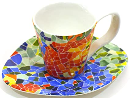 ART ESCUDELLERS Porcelain Mug/Cup with Handle OJO with Plate Decorated in TRENCADIS Gaudí Style
