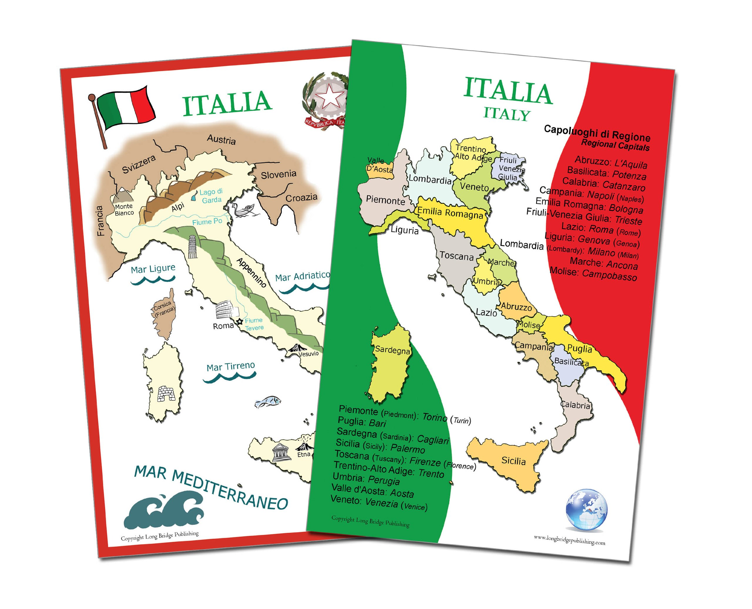 Long Bridge Publishing Italian Language School Poster Set - Maps of Italy, Wall Charts for Classroom and Playroom
