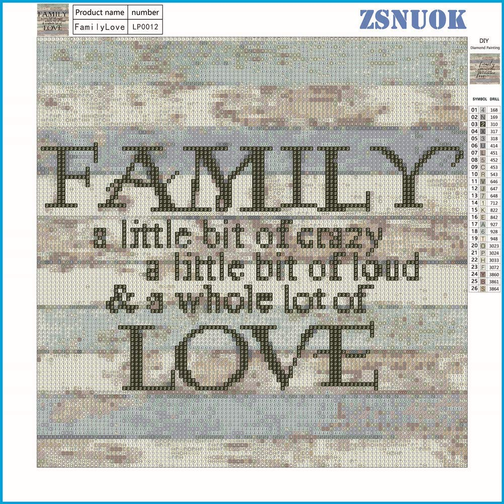 Family Love 12X12 inches Wgniip 5D DIY Diamond Painting by Number Kit Full Round Drill Embroidery Kits for Adults or Kids Cross Stitch Supply Painting with Diamonds Arts Craft Canvas for Home Decor