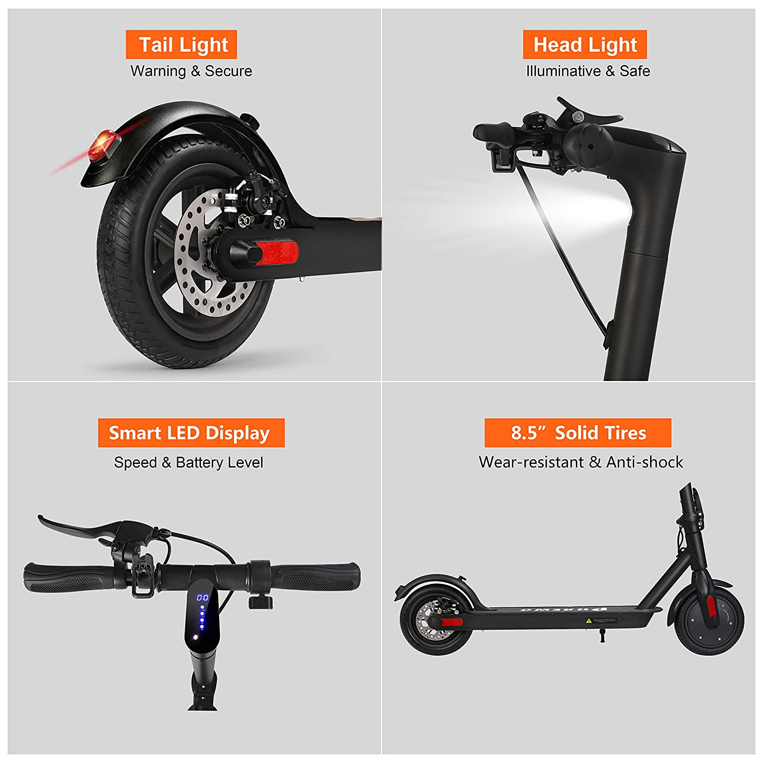 Phaewo Electric Scooter, Folding Adult Scooter, Portable Pro E-Scooter, 8.5inch Solid Tires,12 Miles Range, Max Speed 15 MPH, for Commuting and Travel
