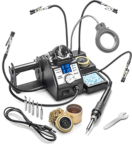 X-Tronic s 3060-PRO Dual LED Display 75 W Soldering Iron Station with 6 Solder Tips, Mini Mag Lamp, 4 Helping Hands, Sleep Func, 3 Temp Presets, Calibration Func, C F Func Brass Sponge w Flux