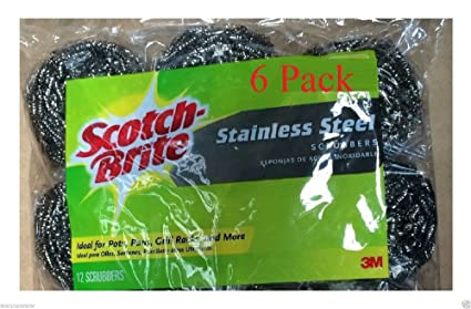 Amazon.com: Scotch-btite 3m 6-pack Stainless Steel Scrubbers ...