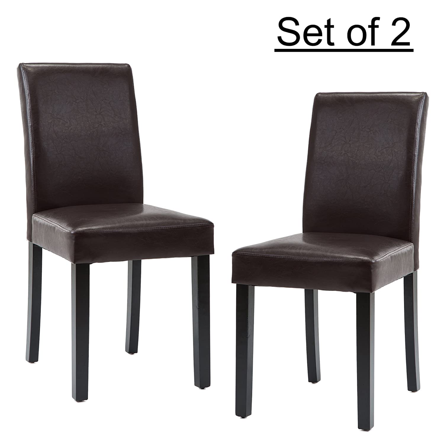 LSSBOUGHT Set of 2 Urban Style Leatherette Dining Chairs With Solid Wood Legs (2, Black) lssbought furniture