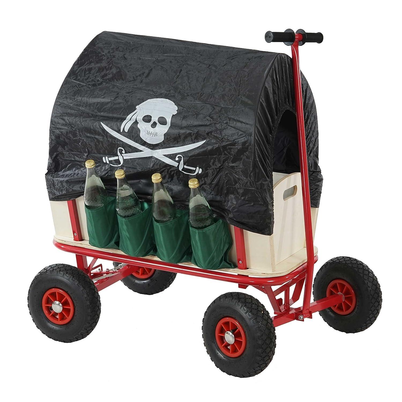 Flaschenhalter Bremse Mendler Bollerwagen Handwagen Leiterwagen Oliveira inkl Dach Pirat schwarz Sitz