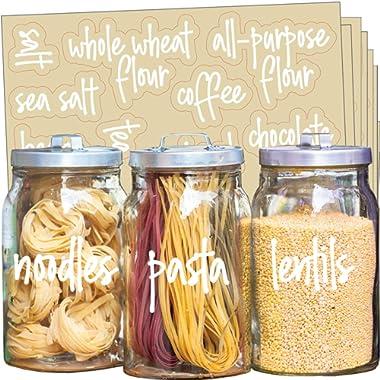 Talented Kitchen 135 White Script Pantry Labels – White Pantry Label Sticker Ingredients. Water Resistant, Food Jar Labels. Jar Decals f/Pantry Organization Storage (Set of 135 – White Script Pantry)