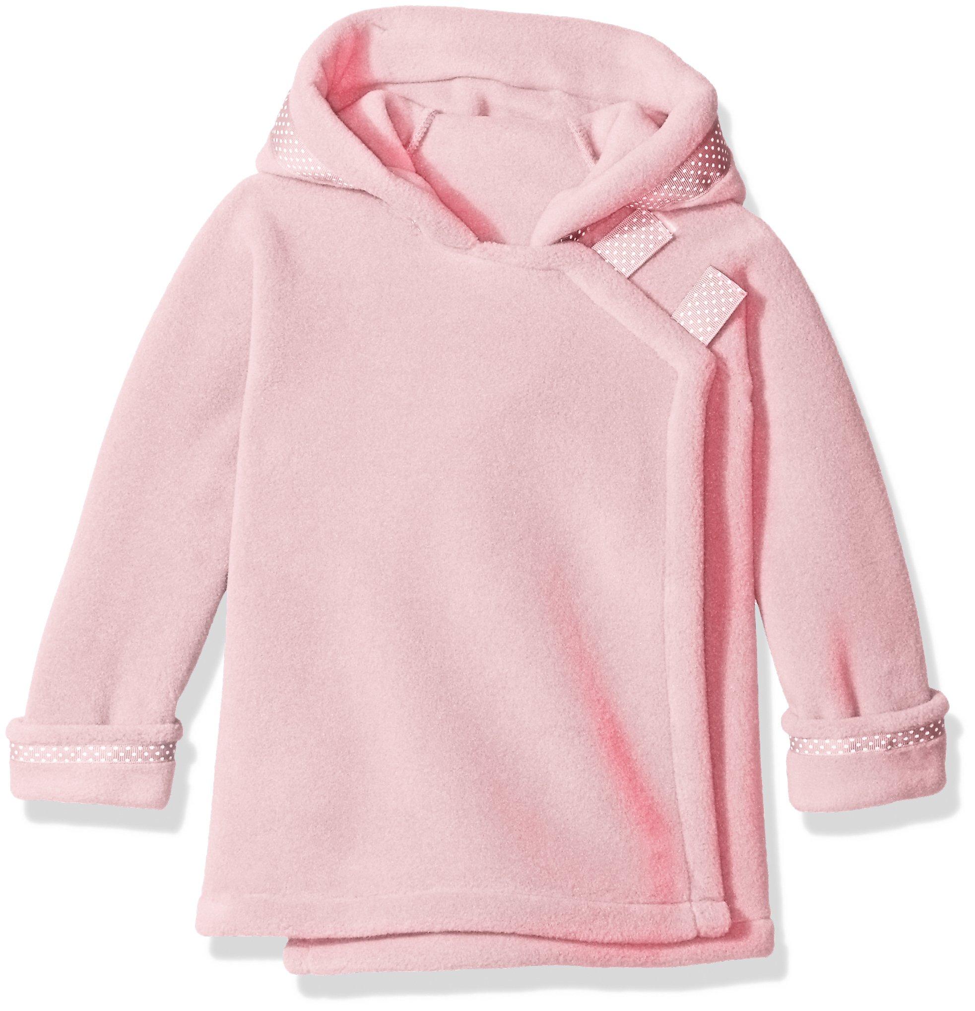 Widgeon Girls' Little Girls' Polartec Fleece Warmplus Fleece Hooded Wrap Jacket with Dot Ribbon, Light Pink, 4T