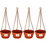 Utiliko 8 Inch Hanging Pots/Planters Terracotta Color for Home Balcony (4)