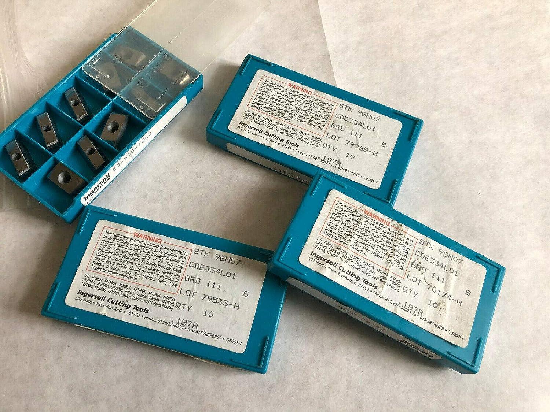 LOT 37 INGERSOLL CDE334L01 CARBIDE INSERTS,STK 9GH07 GRD 111 70174-H 187R,SV