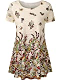 Jubby Women's Lace Floral Printed Round Neck Flared Tunic Top