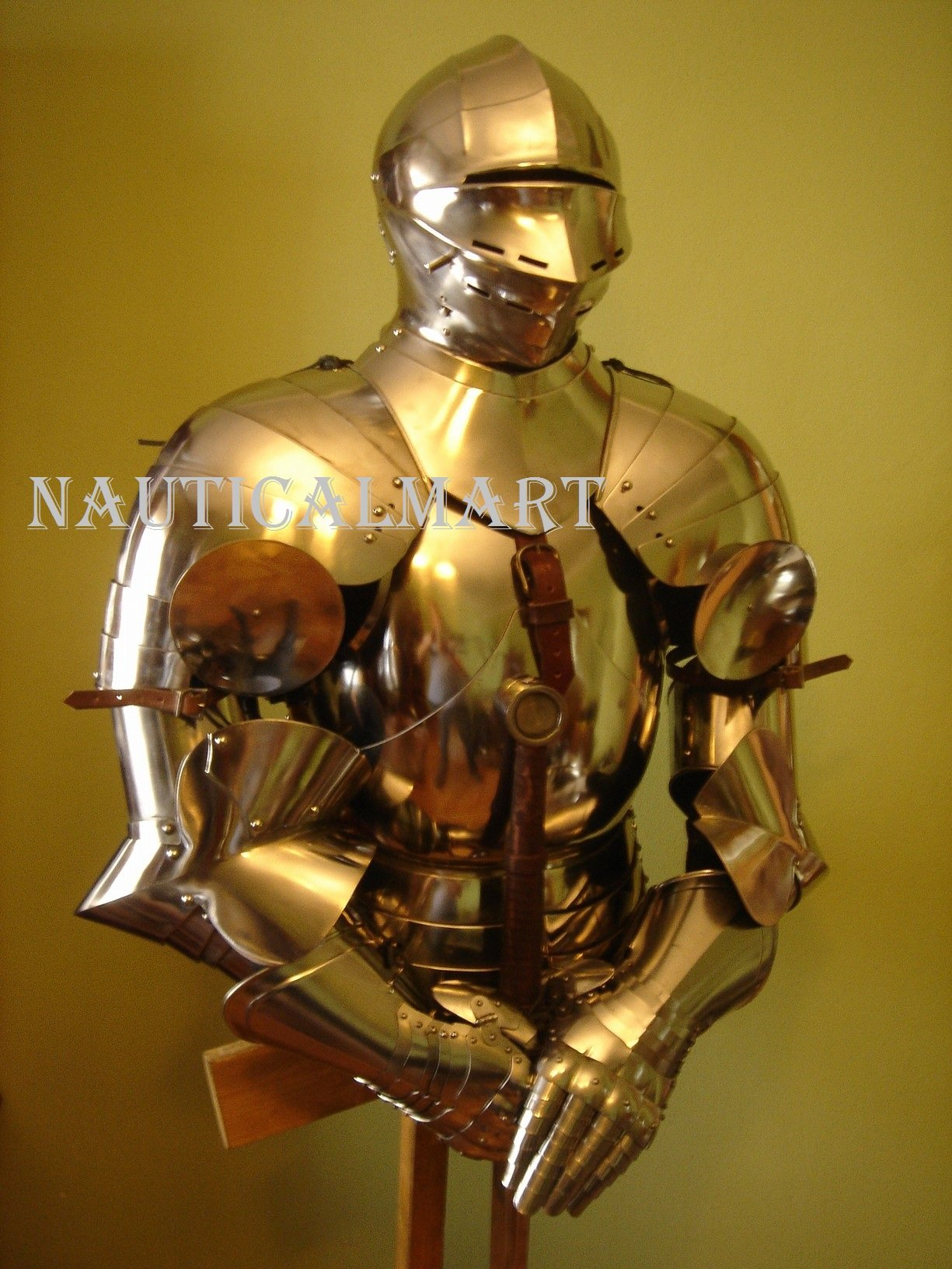 SCA LARP Medieval Gothic Knight Body Armor Breastplate with Helmet Costume