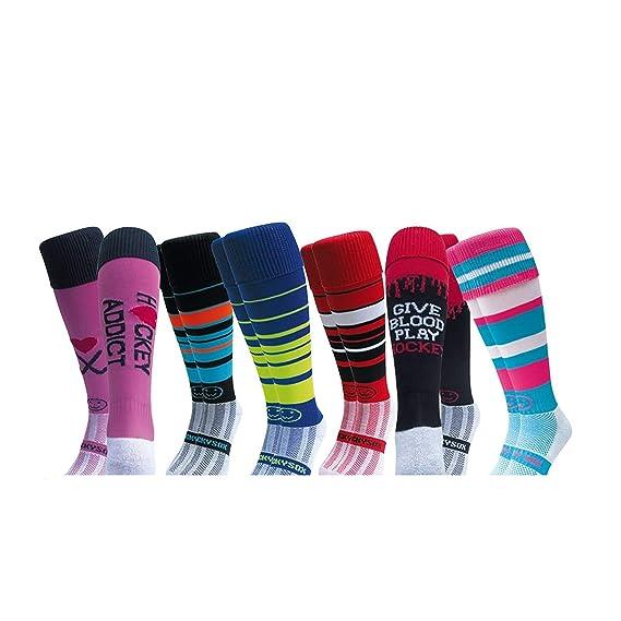 dee044446a7 WackySox Saver Bundle 6 for 4 Pairs Hockey Socks - Stylish Sticks Adult  Shoe Size 7-11  Amazon.co.uk  Clothing