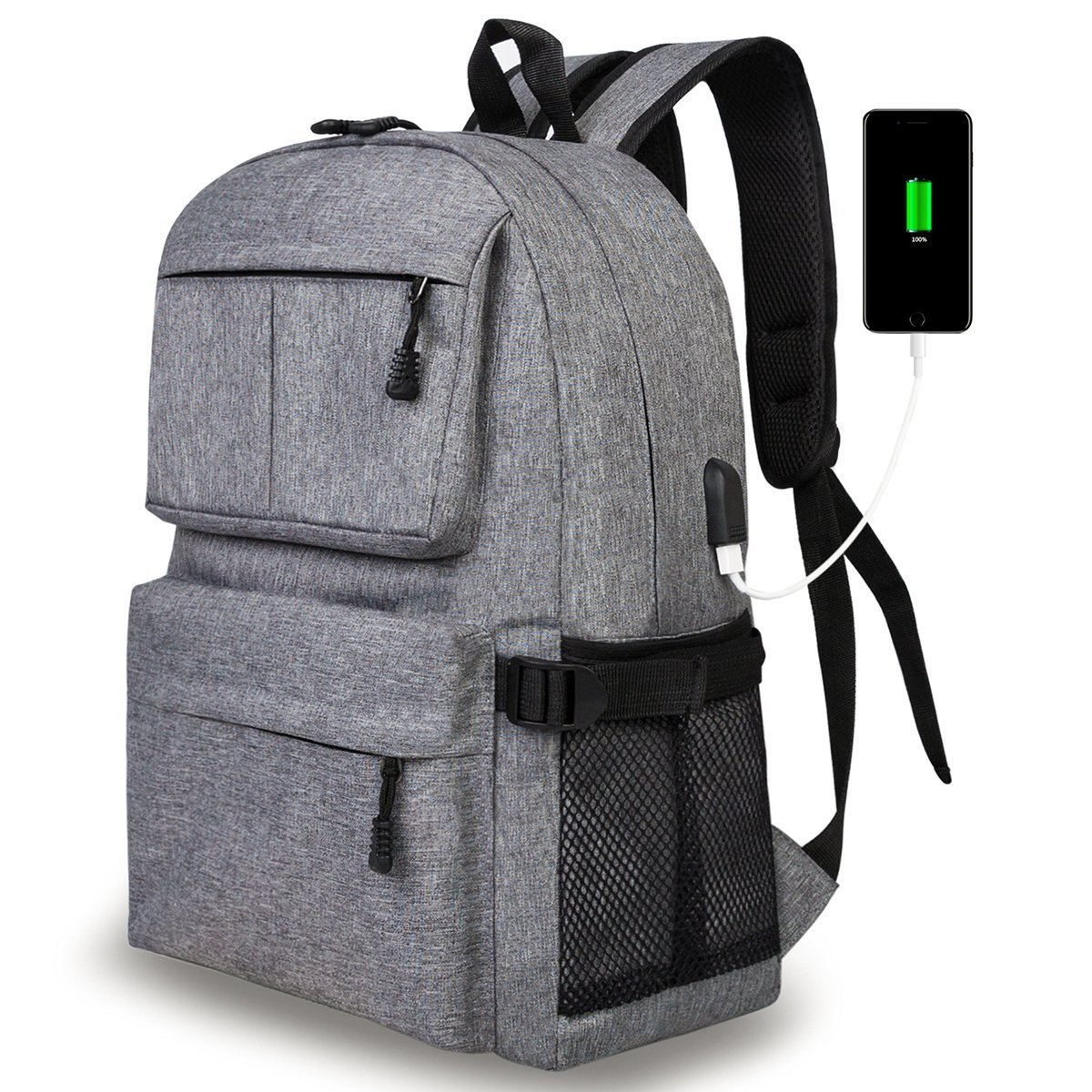 7afb853f2839 ... Bag Daypack College School BookBag for Girls and Boys Fits 15.6 In  Laptop (gray). best Casual Laptop Backpack with USB Charging Port
