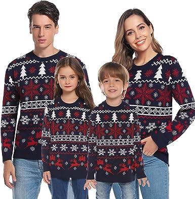 Aibrou Su/éter de Navidad para Familia,Jersey Pullover de Punto de Copos de Nieve de Renos,Pareja su/éter de Navidad,Su/éter de Navidad Invierno para Unisex Hombre//Mujer//Chicos//ni/ñas